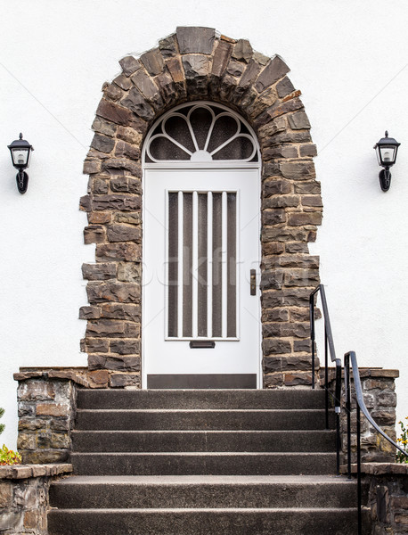 Foto stock: Porta · de · entrada · casa · velho · porta · madeira