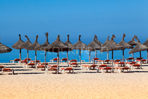 beach scenery with parasol and deck chairs. umbrella and deck ch Stock photo © EwaStudio