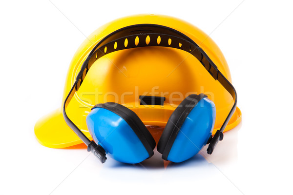 Plastic safety helmet and hearing protection.  isolated  Stock photo © EwaStudio