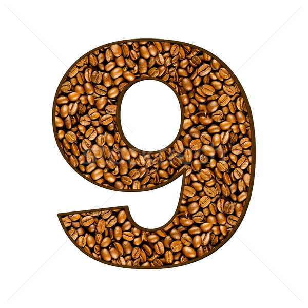 Zahl Kaffeebohnen weiß Kaffee abstrakten Hintergrund Stock foto © EwaStudio