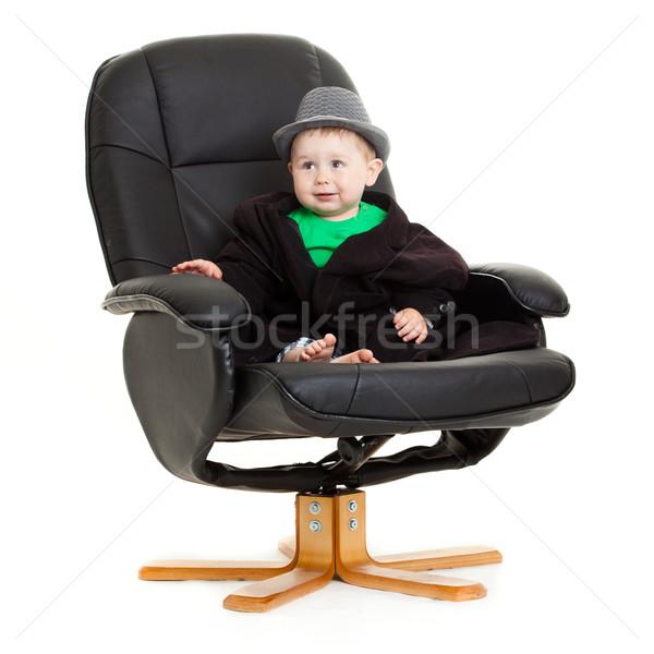 赤ちゃん 少年 事務椅子 孤立した 白 オフィス ストックフォト © EwaStudio