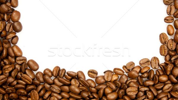 Kahve sınır kahverengi kahve çekirdekleri yalıtılmış beyaz Stok fotoğraf © EwaStudio
