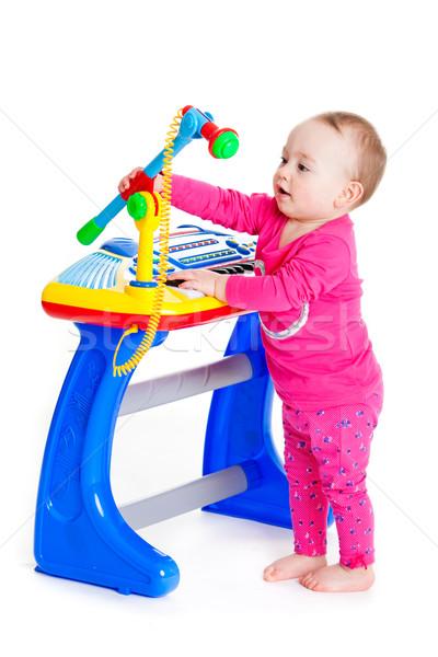 Dziewczynka klawiatury biały funny dziewczyna yo Zdjęcia stock © EwaStudio