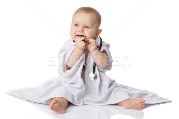 Kicsi orvos baba boldog gyógyszer nővér Stock fotó © EwaStudio