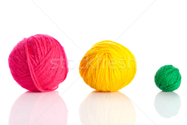 colorful different thread balls.   wool knitting on white backgr Stock photo © EwaStudio