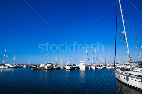 Bateaux port arc marina eau océan Photo stock © EwaStudio
