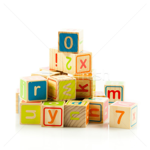 Holzspielzeug Würfel Briefe Holz Alphabet Blöcke Stock foto © EwaStudio