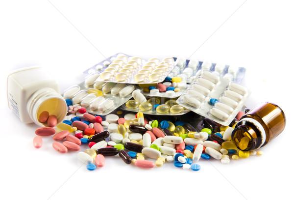 Médico garrafas pílulas fundo estúdio pílula Foto stock © EwaStudio