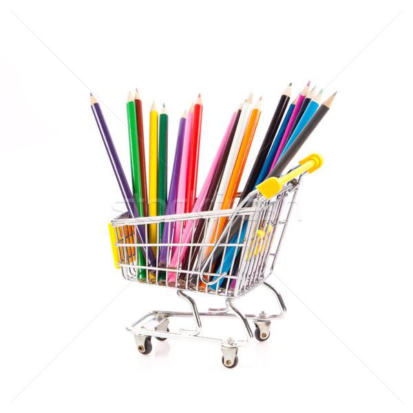 Cor lápis carrinho de compras escolas lápis compras Foto stock © EwaStudio