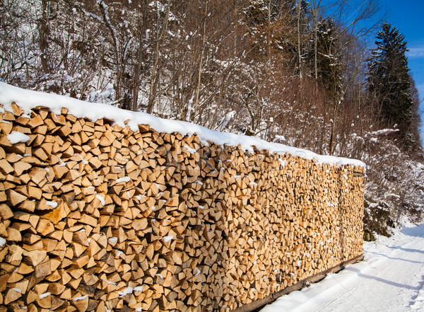 Firewood stacked in winter.  Wood pile with snow stacked for fir Stock photo © EwaStudio