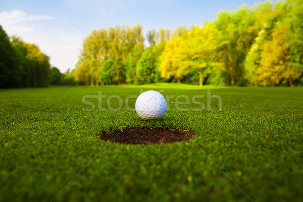 Foto stock: Pelota · de · golf · labio · taza · golf · deporte · verde