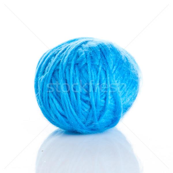 Blue Ball of knitting yarn on a white background Stock photo © EwaStudio