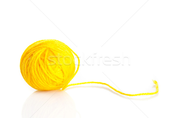 Gelb Wolle Garn Ball isoliert weiß Stock foto © EwaStudio