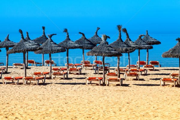 Tropikal plaj manzara güneş şemsiyesi güverte sandalye şemsiye Stok fotoğraf © EwaStudio