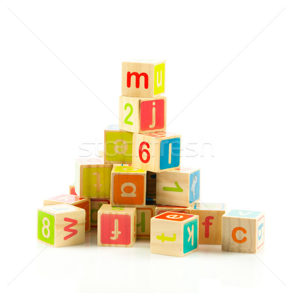 Brinquedo de madeira cartas alfabeto blocos Foto stock © EwaStudio