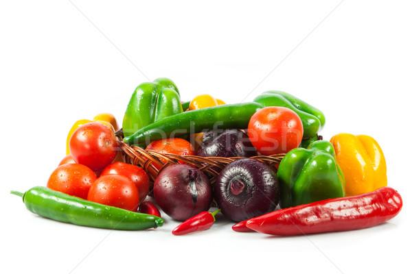 新鮮な野菜 バスケット 孤立した 白 バイオ 野菜 ストックフォト © EwaStudio