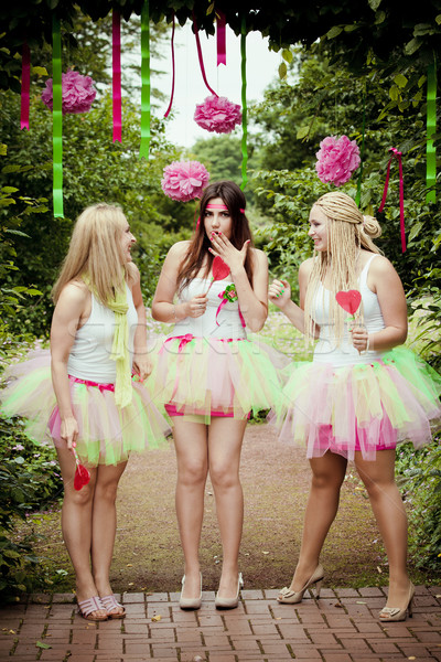 happy  young and attractive girlfriends.  Bridesmaids Stock photo © EwaStudio