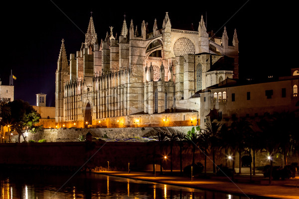 Cathedral of Palma de Mallorca La Seu night view Stock photo © EwaStudio