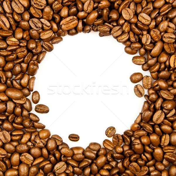 Frame koffiebonen witte voedsel ruimte Stockfoto © EwaStudio