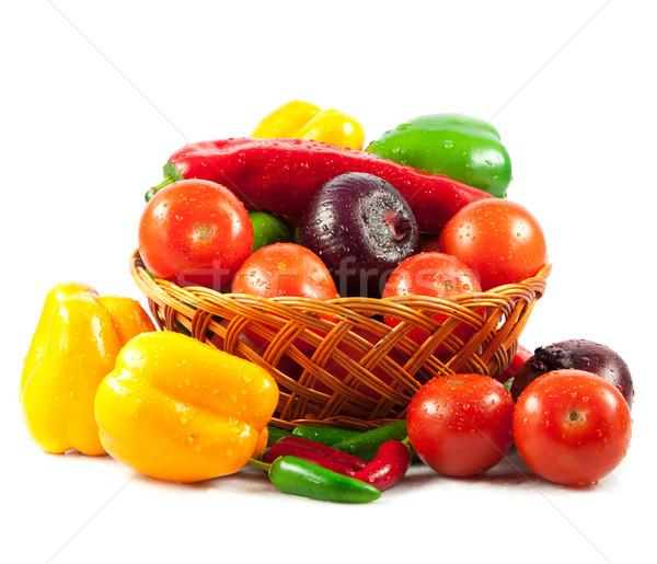 Stock fotó: Friss · zöldségek · kosár · izolált · fehér · bio · zöldség