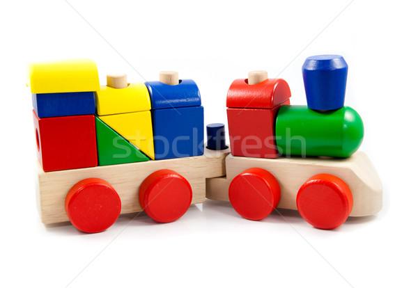 Colorido brinquedo de madeira trem isolado branco bebê Foto stock © EwaStudio