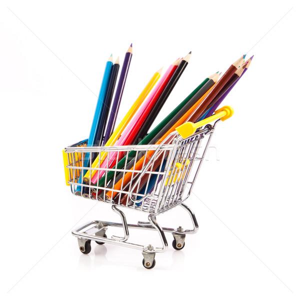 цвета карандашей Корзина школы карандашом торговых Сток-фото © EwaStudio