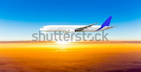 Photo stock: Avion · ciel · coucher · du · soleil · avion · bleu · sunrise