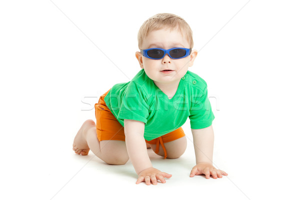 Retrato engraçado criança óculos de sol branco Foto stock © EwaStudio