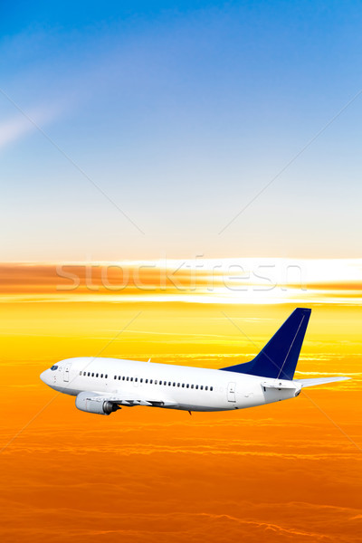 Avion ciel coucher du soleil avion bleu sunrise Photo stock © EwaStudio