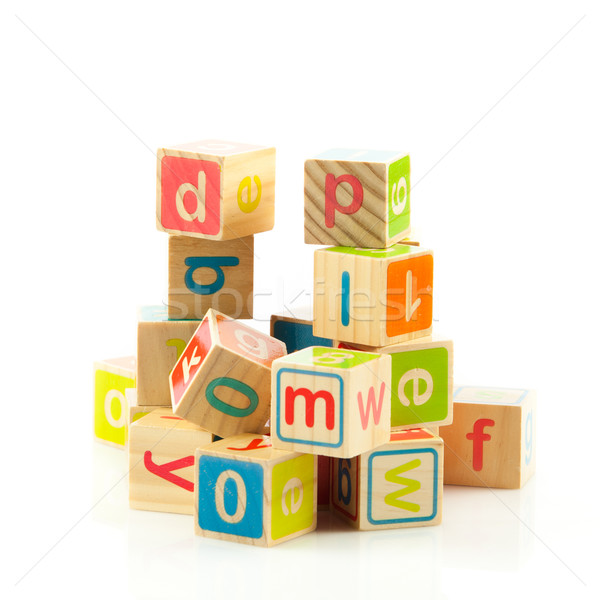 Jouets en bois cubes lettres bois alphabet blocs Photo stock © EwaStudio