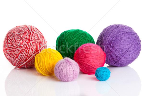 colorful different thread balls.   wool knitting on white backgr Stock photo © EwaStudio