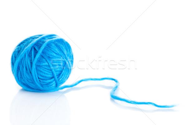 Blauw bal garen witte textuur Stockfoto © EwaStudio
