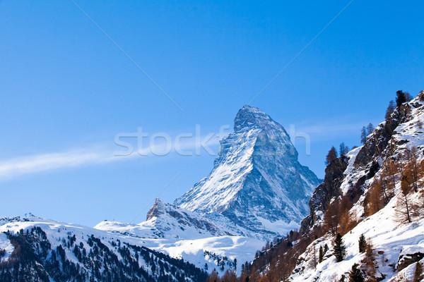 Matterhorn mountain of zermatt switzerland. Winter in swiss alps Stock photo © EwaStudio