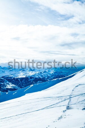 Inverno montanhas céu árvore natureza paisagem Foto stock © EwaStudio