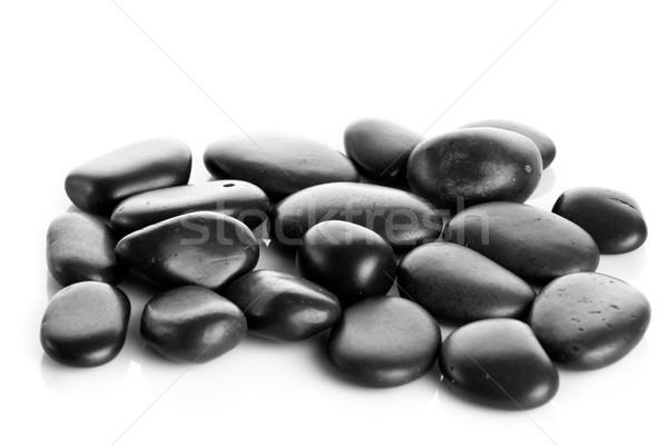 Zwarte massage stenen geïsoleerd natuur rivier Stockfoto © EwaStudio