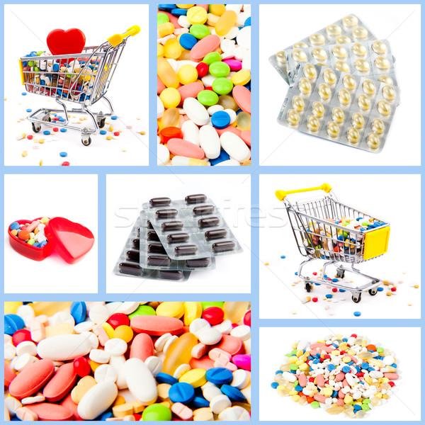 Collectie medische pillen gekleurd tabel Stockfoto © EwaStudio