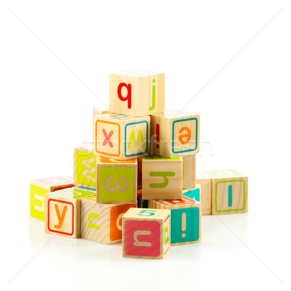 Stock photo: wooden toy cubes with letters. Wooden alphabet blocks.