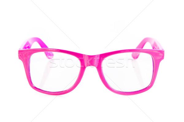 Roze bril geïsoleerd witte gezicht zonnebril Stockfoto © EwaStudio