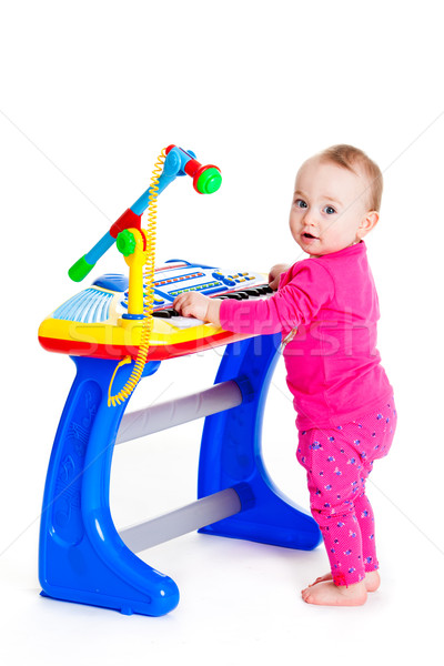 Little girl teclado branco engraçado menina yo Foto stock © EwaStudio