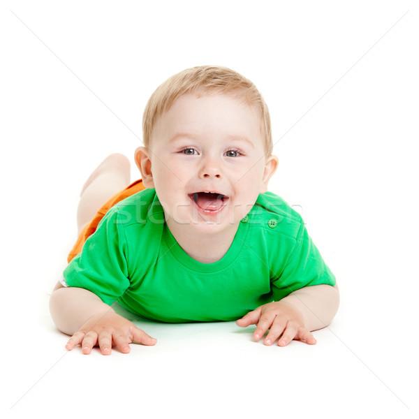 Baby jongen geïsoleerd gezicht haren studio Stockfoto © EwaStudio