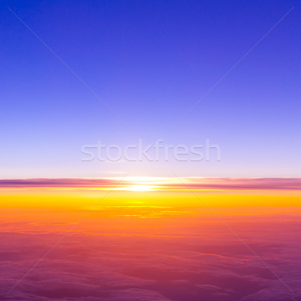 sunset with a height of 10 000 km. Dramatic sunset. View of suns Stock photo © EwaStudio