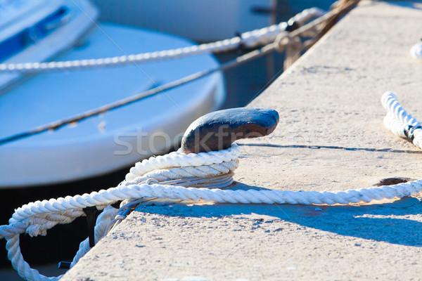 Steel anchor on boat or ship.  mooring ropes Stock photo © EwaStudio