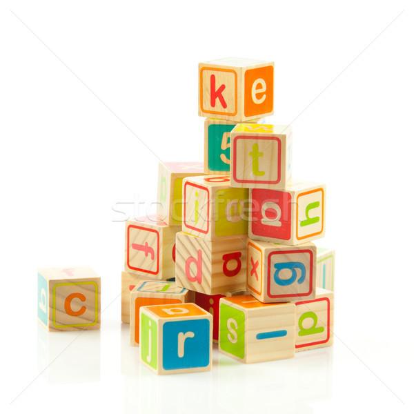 Foto stock: Brinquedo · de · madeira · cartas · alfabeto · blocos