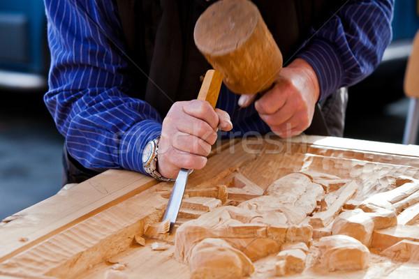 Bois ciseler charpentier outil travaux artiste Photo stock © EwaStudio