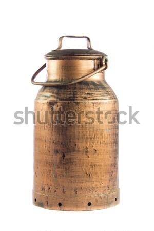 Retro melk kan oude witte metaal Stockfoto © EwaStudio