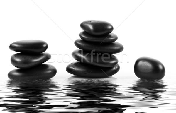 Stock foto: Schwarz · Massage · Steine · gestapelt · isoliert · rock