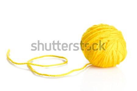 Geel wol garen bal geïsoleerd witte Stockfoto © EwaStudio