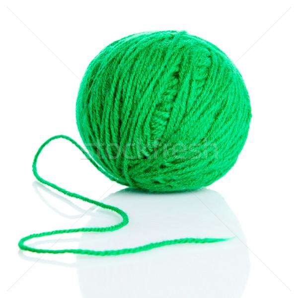 зеленый шерсти пряжи мяча изолированный белый Сток-фото © EwaStudio