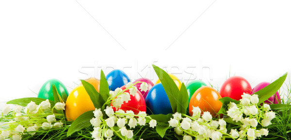 Easter eggs in Fresh Green Grass . Stock photo © EwaStudio