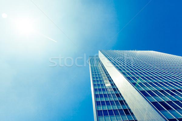 exterior of glass residential building.  Modern glass silhouette Stock photo © EwaStudio